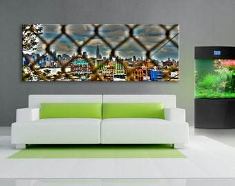 Wired New York , jersey view, Canvas oil printing. 70x24 inch.