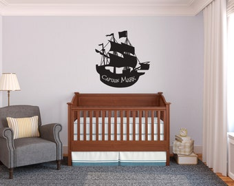 Personalized Pirate Sailing Ship - Wall Decal Custom Vinyl Art Stickers
