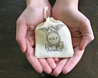 Personalized muslin wedding ring bag.  Rustic ring pillow alternative, ring bearer accessory, ring warming ceremony. Vintage bird ring.
