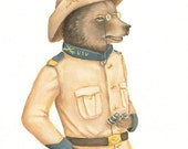Teddy Roosevelt Bear Print 8x10 - history, bear, brown, Theodore Roosevelt, historical, quirky, animals in clothes, teddy bear, illustration