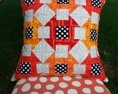 SALE  Modern Quilted Mini Churn Dash Pillow Cover