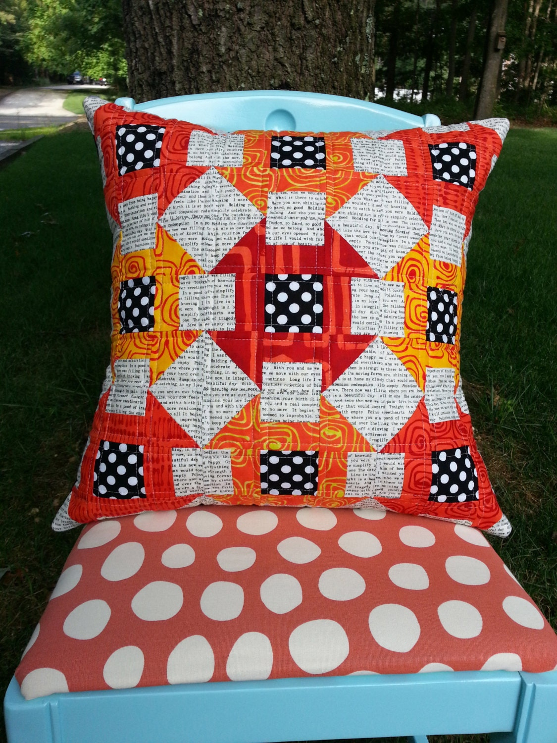 Modern Quilted Pillow Covers : SALE Modern Quilted Mini Churn Dash Pillow Cover