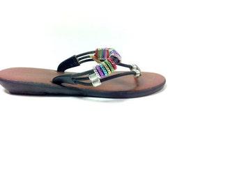 REDUCED~ 80s Leather Beaded Flip Flops 8 - Slip On Boho Sandals 8 - Flat Rainbow Thongs 8