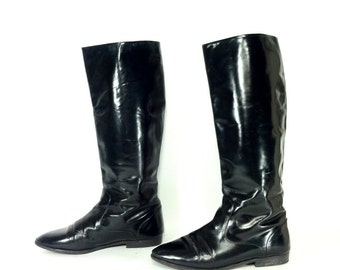 Tall Leather Riding Boots 9.5 - Black Knee High Equestrian Boots 9.5 - Italian Leather Riding Boots 9.5