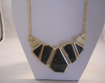 Gold and Grey Pendant Chain Bib Necklace