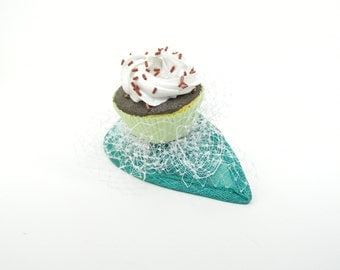 RESERVED!! Fascinator Headpiece in Turquoise with Cupcake and White Veil - Cocktail Hat, Birthday Girl Party Hat, Cocktail Occasion Hen Nigh