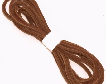 "1 Pair 77"" Brown Leather Boot Lace, Boot Laces, Shoe Laces, Lacing"
