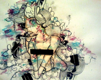 6x4 inch art print, small art print, blue pop surreal art illustration,