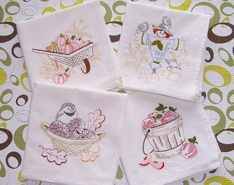 Embroidered Set of Fall Designs on Flour Sack Towels