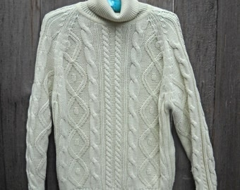 WINTER SALE--Vintage Sweater, Fisherman Knit Cable Sweater, International Collection by McGregor, Cream Color, Beautiful