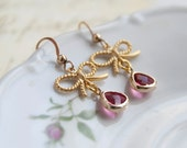 Ruby Dangle Earrings -  Gold Filled Bow Earrings - Bridesmaid Earrings