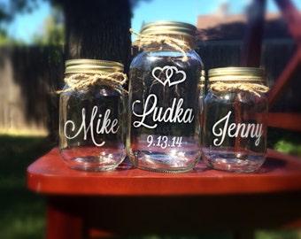 Unity Jars, Custom Unity Mason Jars, Sand Ceremony, Mason Jar Wedding