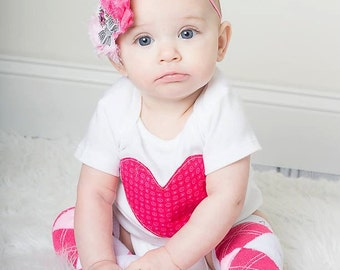 Baby Girl Valentine's Day onesie and leg warmer and headband set, heart, pink, red, photo prop, argyle, kids Valentine's clothing, outfit