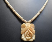 Vintage Carved Bakelite Rose Pendant Bone Faux Ivory Bead Choker Necklace