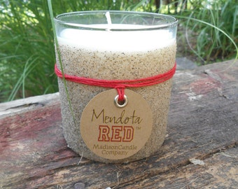 University of Wisconsin Candle Mendota Red Badgers March Madness Madison Wisconsin Sand Soy Wax