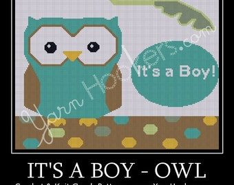 It's a Boy - OWL - Afghan Crochet Graph Pattern Chart - Instant Download