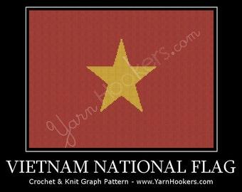 Vietnam National Flag - Afghan Crochet Graph Pattern Chart - Instant Download