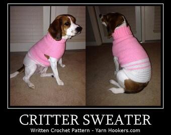 Written Crochet PATTERN: Critter Sweater - Dog/Cat - Instant Download