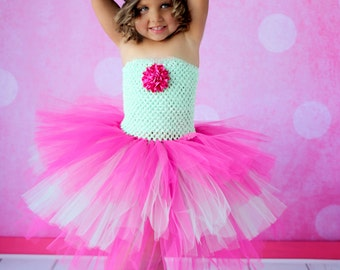Mint Green and Fuschia Birthday Layered Tutu Dress