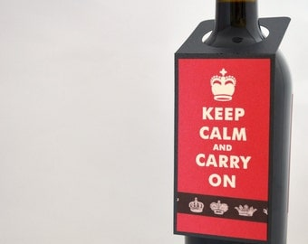 Keep Calm Wine Bottle Tag in Red and Black