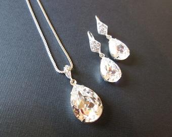 Clear Crystal Bridesmaid Jewelry/Swarovski Jewelry Set/Wedding Jewelry/ Crystal Earrings/ Swarovski  Jewelry/ Bridesmaid Jewelry