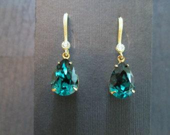 Emerald Swarovski Crystal Drop Earrings/ Swarovski Earrings/Bridesmaid Jewelry/ Crystal Earrings/ Bridesmaid Gift/Blush Crystal/Fall Wedding