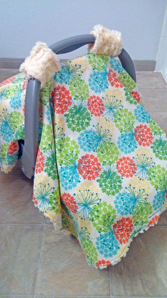 gender neutral car seat canopy dandelion rosette minky. Black Bedroom Furniture Sets. Home Design Ideas