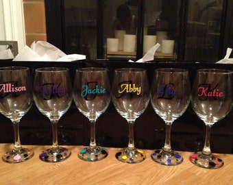 Custom Christmas Vinyl Wine Glass Decals - Wine glass custom vinyl stickers