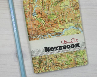 NOTEBOOK SMALL, England, Great Britain, London, Themse  4x5,7inch, 40 p., ruled, travel journal, diary, notebook, atlas, vintage