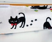 Pencil Case, Pencil Pouch, School Supply – Black Cats Japanese Fabric  - Toiletry & Cosmetics Bag