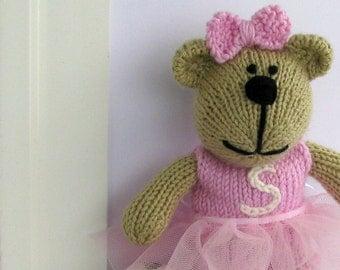 Hand Knit Bear - Ballerina Bear - Plush Doll - Stuffed Teddy Bear - Custom Personalized Kids Gift - Knitted Plush Bear - Child Toy Wendy
