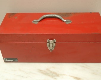 Vintage Red Metal Toolbox Disston The Challenger MADE IN USA