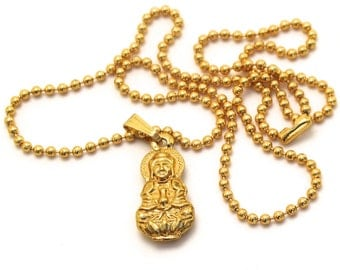 Gold Kuan Yin Necklace, Buddhist Goddess of Mercy and Compassion, Yoga Necklace, Buddhist Necklace, Buddha Jewelry, Chinese Goddess