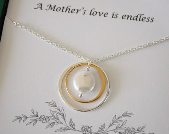Mother Gift, Mother Necklace, Endless Love, Thank You Card, White Pearl, Silver & Gold Necklace, Karma