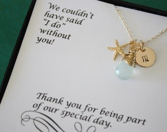 3 Bridesmaid Gift Personalized Gold Starfish, Bridesmaid Necklace, Beach Wedding, Gold, Gemstone, Initial jewelry, Thank you Card