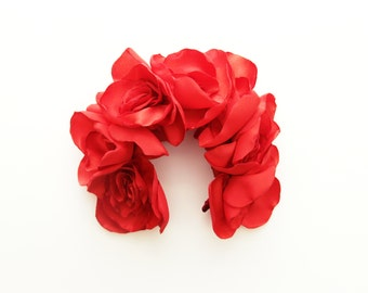 KARMEN / Fabric flower oversized  kokoshnik / floral crown-OOAK - Ready to Ship
