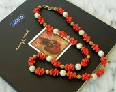 Crown TRIFARI Faux Coral Glass Bead and Baroque Pearl Necklace 1950s Vintage