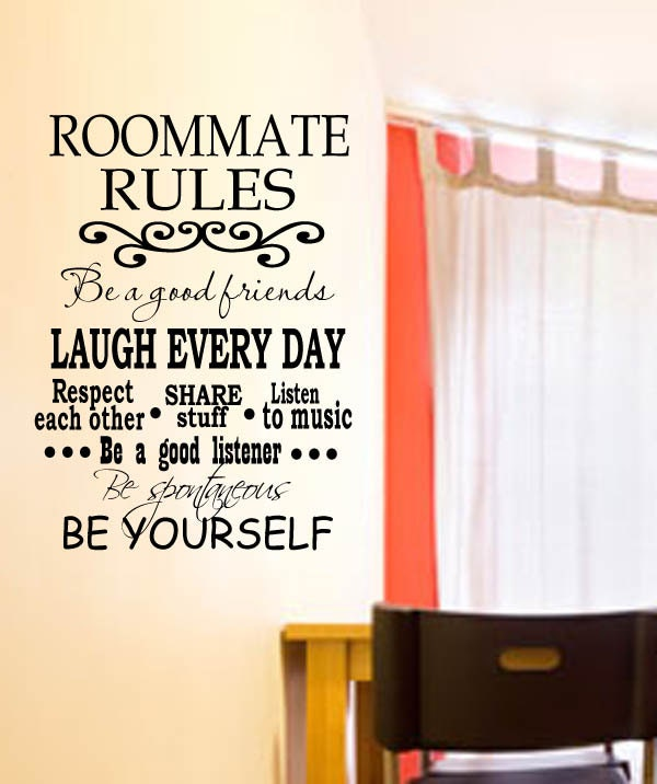 Wall Decals In Dorms : College dorm roommate rules vinyl wall decal with decorative