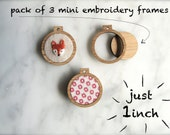 "Miniature embroidery hoop frames - Pack of 3 x 1"" inch wide - The world's smallest!"