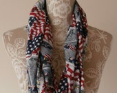 Ground Zero Heroes Fireman Memorial 9-11 Patriotic Red White and Blue USPS Stamp 100% Cotton Infinity Loop Circle Scarf