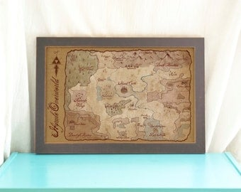 Map of Hyrule Overworld // The Legend of Zelda, A Link to the Past // Gamer Home Decor // Geeky Art // Antique Style SNES Game Map/ Print