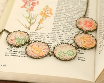 Vintage Flowers Italian Paper Glass Cabochon Necklace