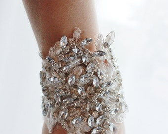 Bridal Rhinestone Cuff Bracelet, Crystal Beaded Wedding Cuff