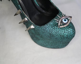 Evil Eye Teal Platform Stiletto