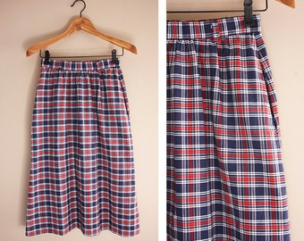 80's Vintage Red, White and Blue Plaid Long Skirt SMALL