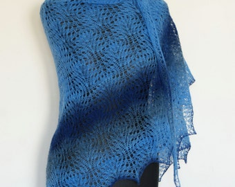 Sale Scarf Hand Knitted Blue Lace Triangle Shawl Shawlette. Blue Navy Denim. Estonian Wool Kauni.READY TO SHIP