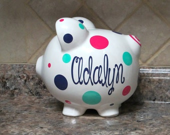 Large Personalized Ceramic Piggy Bank With Name