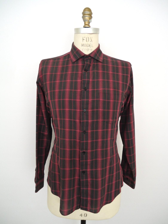 Vintage Pink Gray Plaid Shirt Men 39 S Large