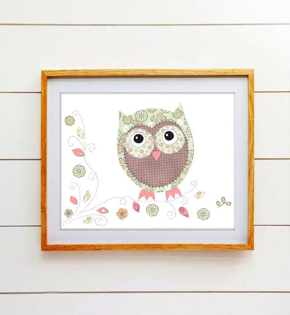 Owl Nursery Decor, Kids Artwork, Baby Girl Pictures, Print for Toddlers Room, Pink, Aqua  Print, Olive the Owl. - PRINT