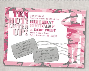 "Pink Army Invitation ""Birthday Bootcamp"" Birthday Invite - Printable Digital File or Printed Invitations with Envelopes - FREE SHIPPING"
